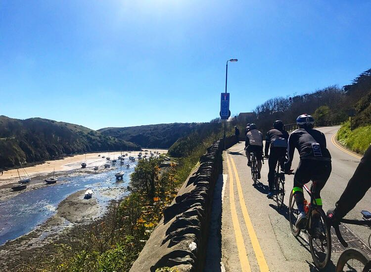 The team encountered difficult roads on day 1, climbing a total of over 7000ft as they cycled through Pembrokeshire