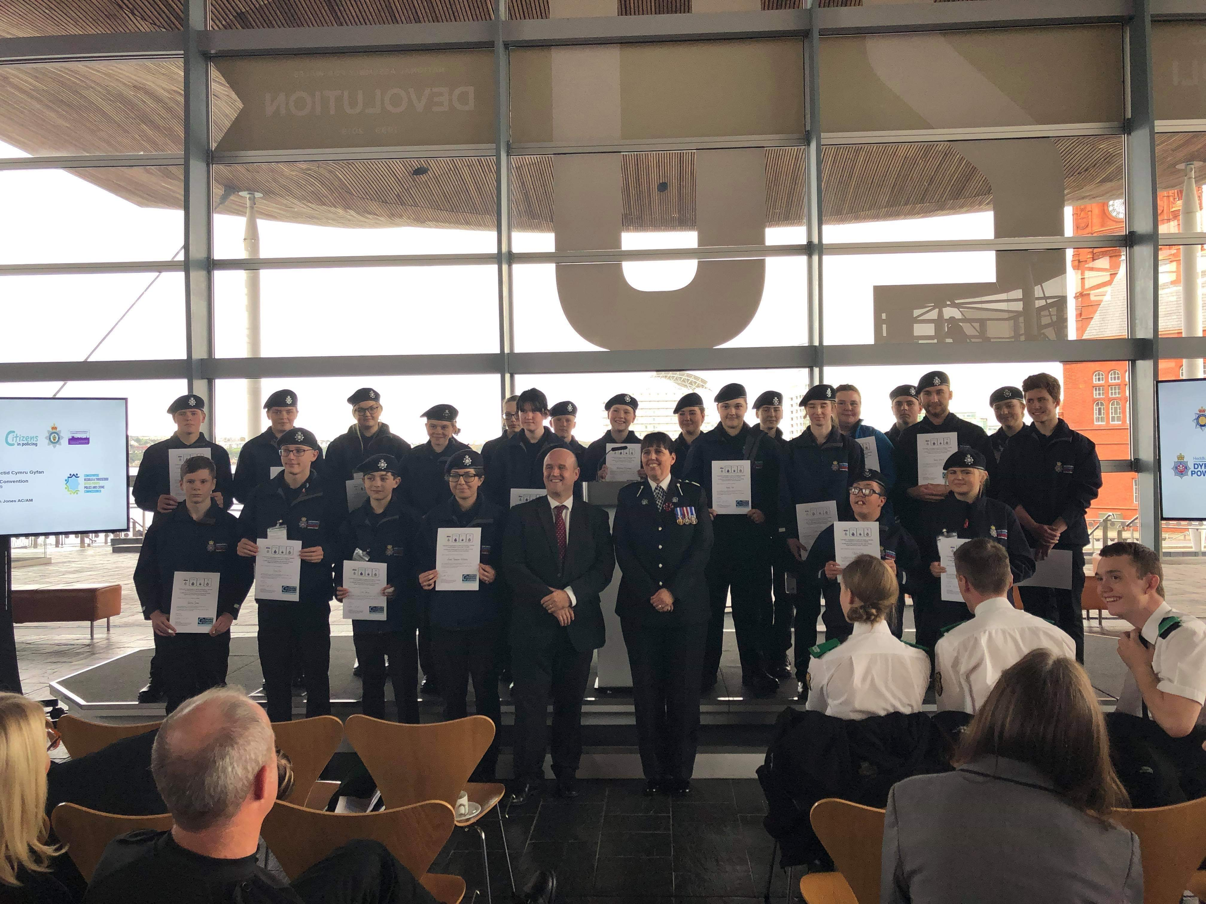 Police Cadets presented with certificates by Police and Crime Commissioner Dafydd Llywelyn and T/Deputy Chief Constable Claire Parmenter