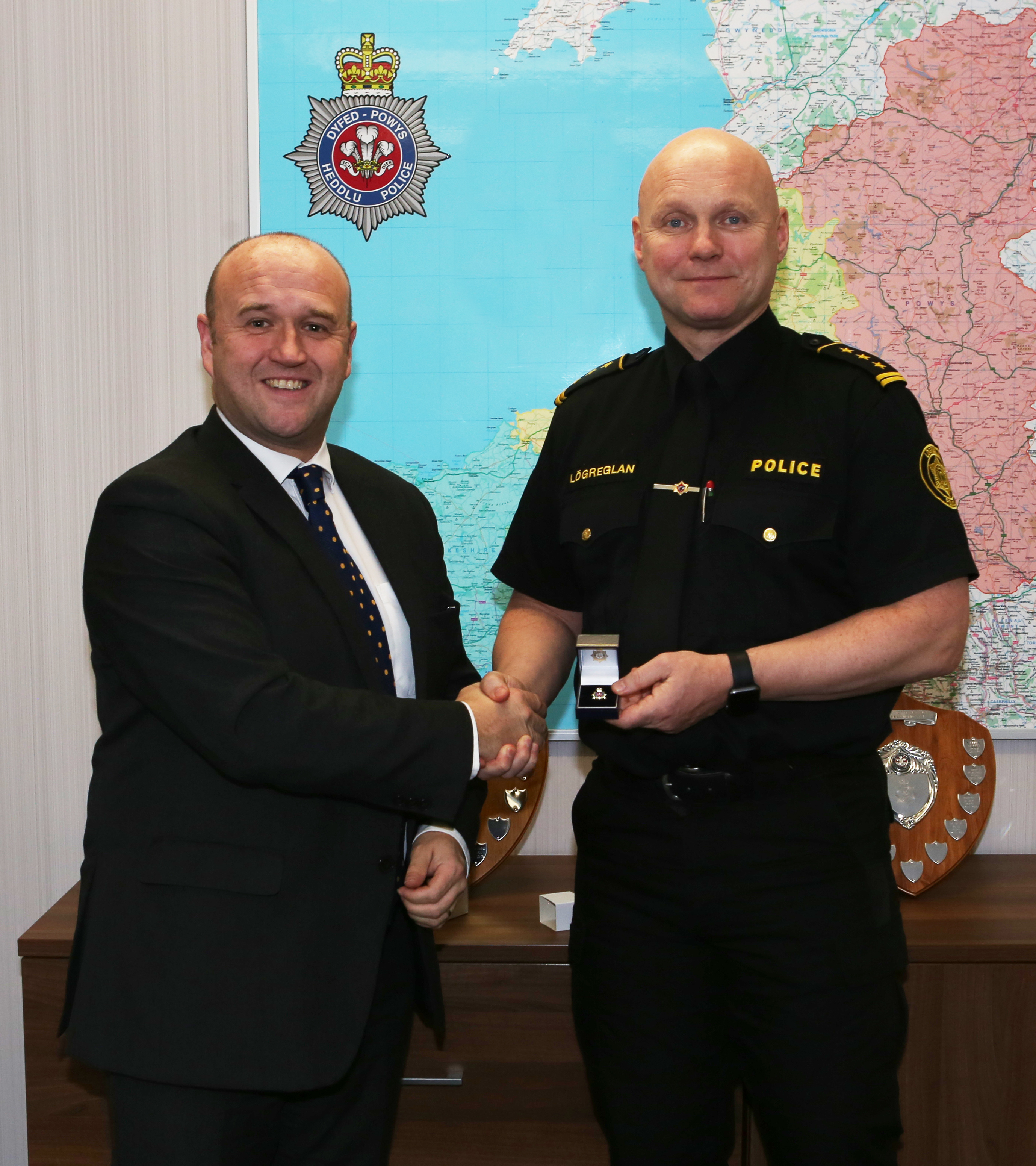 PCC Dafydd Llywelyn and Chief Superintendent Thorhallur Ólafsson Icelandic Police